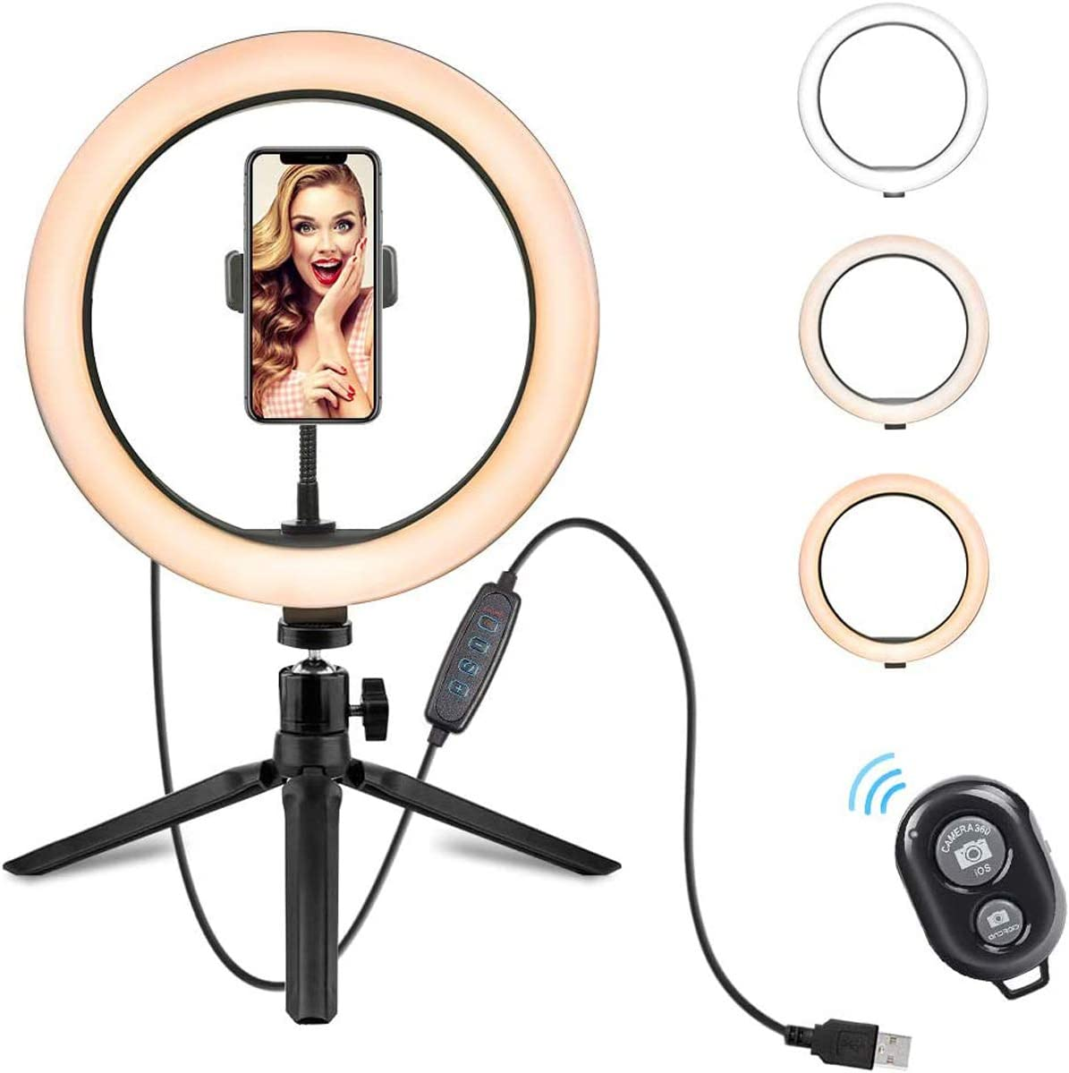 10 Inch Selfie Ring Light, LED Desktop Ring Light with Tripod Stand and Phone Holder Dimmable Phone Ring Light Compatible with iPhone Android for Live Stream, Makeup, YouTube Video