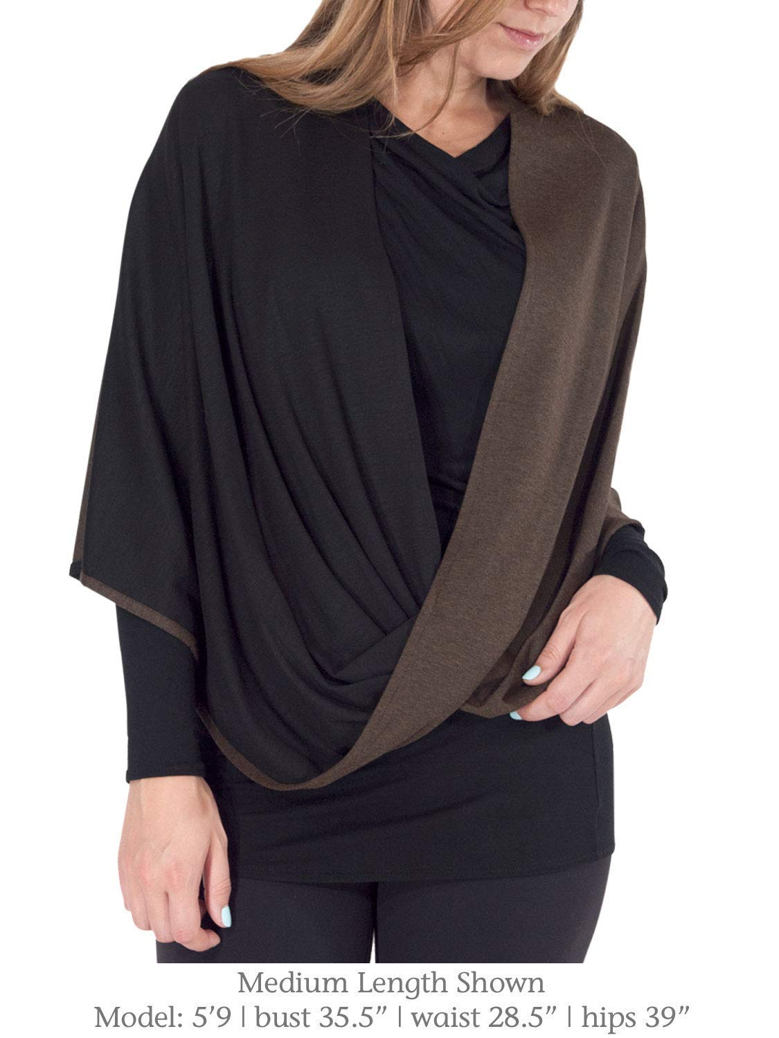 7fe80c96c7c Beryl Infinity Shawl and Scarf - Luxuriously Soft 2-Tone Black and Walnut  Brown Shawl