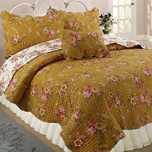 Cozy Line Home Fashions Camellia Perry French Country Mustard Yellow Floral Blooming Flower Printed Cotton Vintage Quilt Bedding Set Reversible Coverlet Bedspread Gifts for women (Queen - 3 piece)