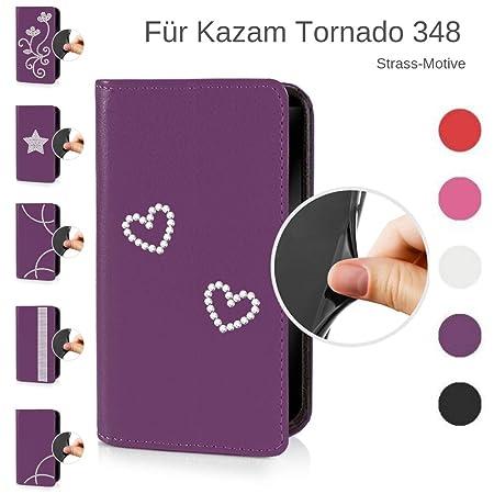 eSPee Handyhülle für Kazam ? Tornado 348 ? – unzerbrechliche Schutzhülle – aus Silikon mit Strass Herz – unsichtbarer Magnetv