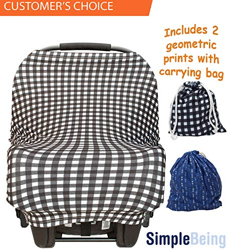 Simple Being Nursing Breastfeeding Cover - Multi Use Car Seat Canopy, Nursing Pads, Shopping Cart, Stroller Covers for Girls and Boys - Baby Shower Registry (Geometric)