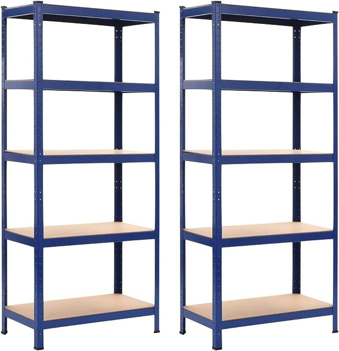 Tidyard 2 Unidades Estantería de Escalera Estantería Metálica para Baño Salón Dormitorio, Azul 80x40x180 cm Acero y MDF: Amazon.es: Hogar