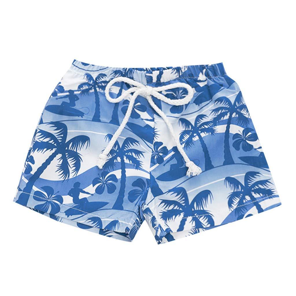 NUWFOR Kids Baby Girl Hawaiian Print Broek Elastic Waistband Beach Shorts Summer (Blue,12-18 Months)