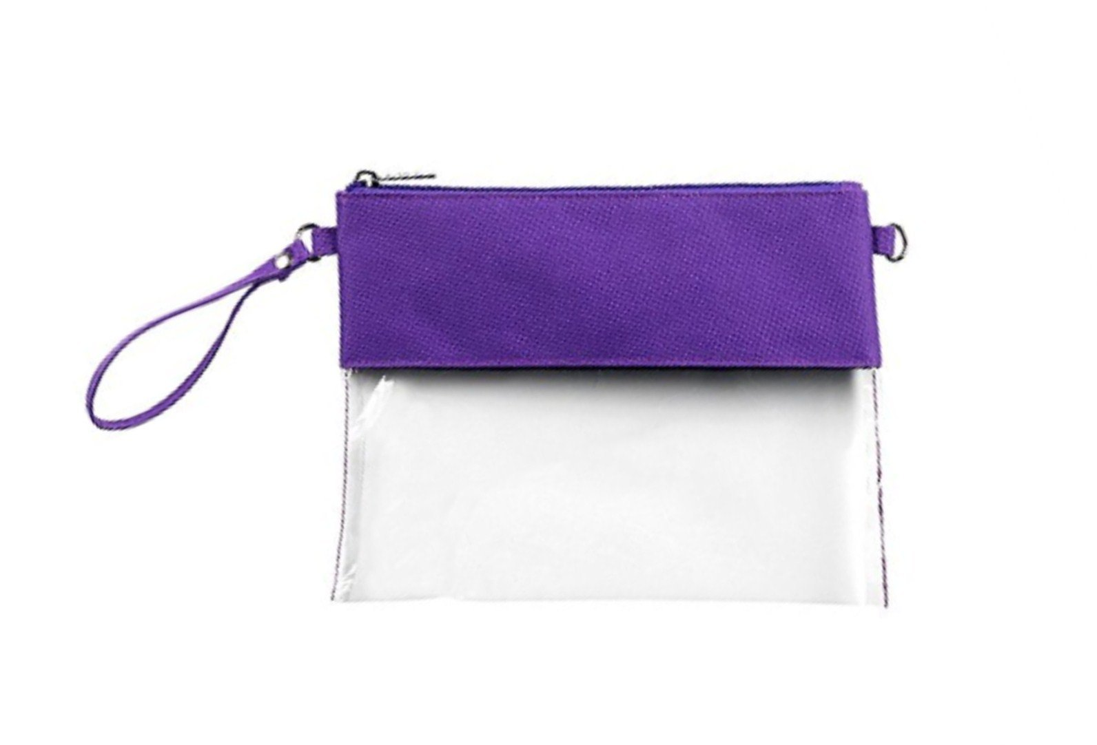 MONOBLANKS Clear Zip Pouch with Detachable Crossbody Adjustable Strap and Wristlet (Purple) by MONOBLANKS (Image #1)