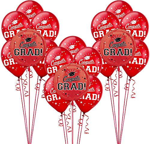 Party City Congrats Grad 18 Count Balloon Kit, 2019 Graduation Party Suppliess with Red Foil and Latex Balloons