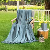 HollyHOME Oversized and Thick Throw Blanket 50x60 Inches Decorative Silver Blue Soft Microfiber All Season Blanket with Tassels, Great Gifts Idea