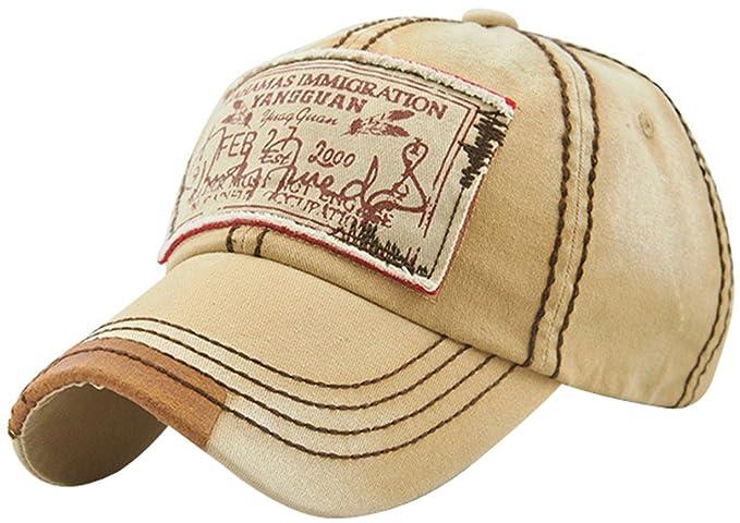 0991318bbe5 MINAKOLIFE Mens Vintage Distressed Denim Cotton Baseball Cap Trucker Hat  Beige. Roll over image to zoom in