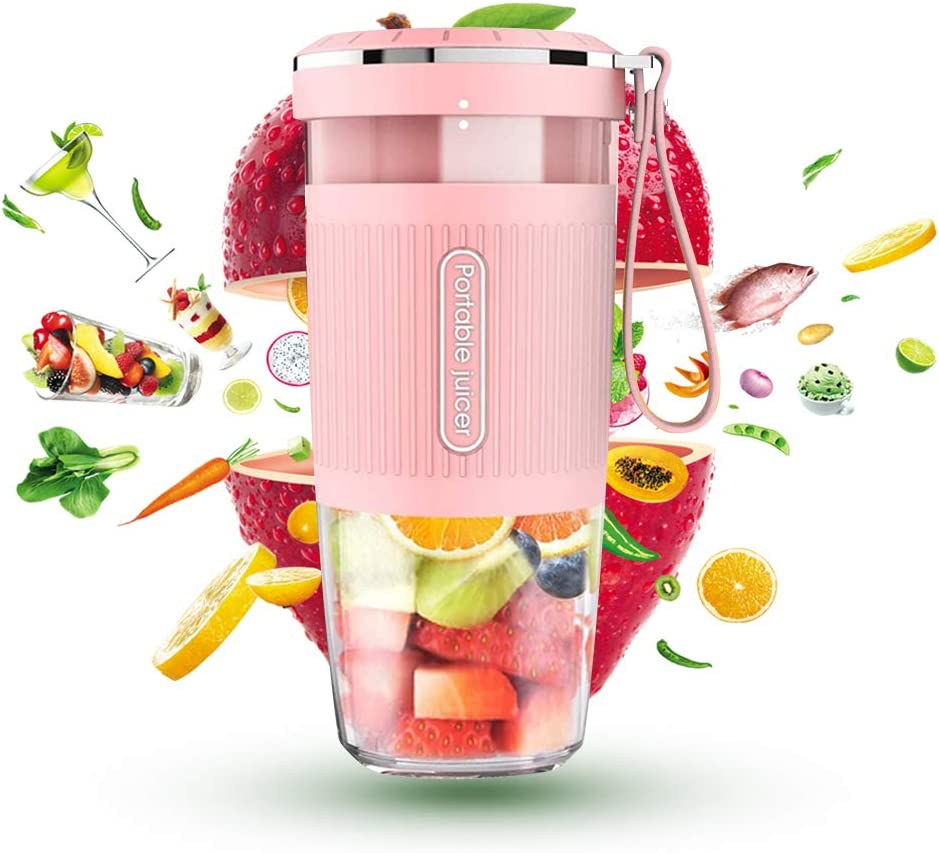 Portable Blender, Cordless Personal Blender Juicer, Mini Mixer With USB Rechargeable BPA Free, 10oz Waterproof Smoothie Blender for Home, Office, Sports, Travel, Outdoors