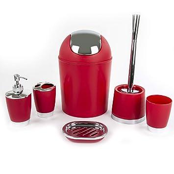 Ensemble de 6 accessoires de luxe pour salle de bains - Rouge