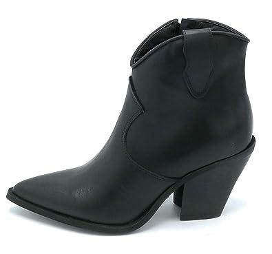 scarpe di separazione 875bb 7be03 OVYE RGSKE03 Stivaletto texano Pelle Nero Cerniera Tacco 8cm ...