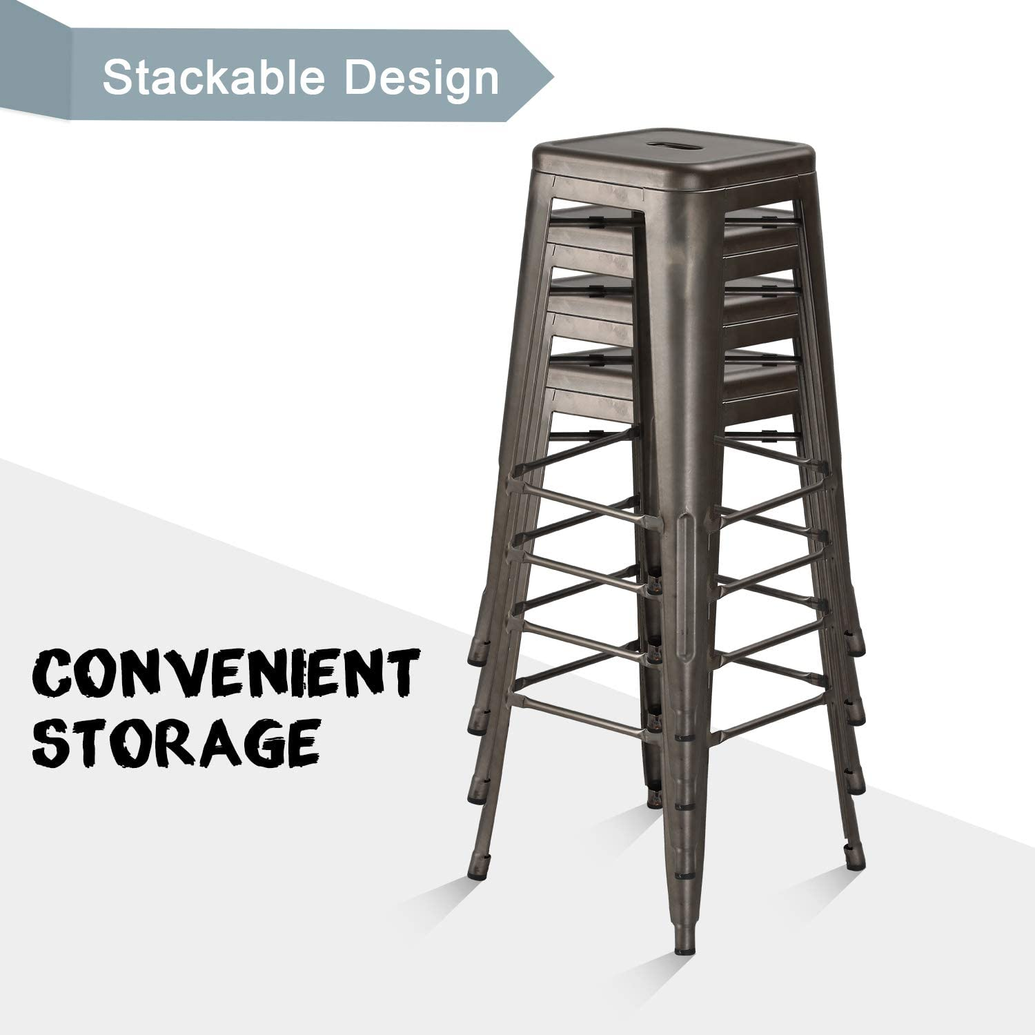Waleaf 30 inches Metal Stools Indoor//Outdoor Counter Height Stackable Bar Stool Modern Style Restaurant Cafe Chic Bistro Stool Set of 4 Black
