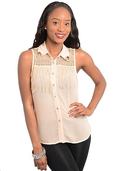 2luv Women S Jeweled Collar Fringe Blouse Sand M At Amazon Women S