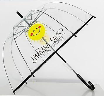 """Paraguas Transparente de Mujer. Paraguas Automático de Mujer con la frase """"¿Mañana"""