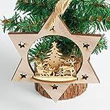 Morecome Snowflake Wood Ornament Rustic Christmas Tree Hanging Decor (B)