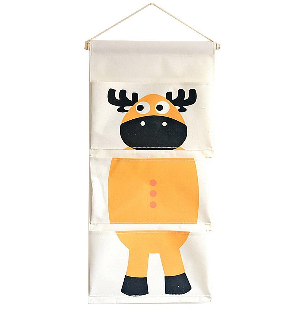 IEVE Cotton Fabric Storage Bag Wall Door Closet Hanging Storage Bag,Hanging Organiser With Pockets,Storage Bag for Children's Bedroom / Door,Pockets Home Organizer (giraffe)