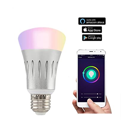 Smart Light Bombilla LED Conectada A WiFi, Base E27, 7W, Funciona con Alexa