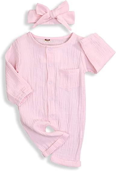 YOUNGER TREE Newborn Baby Boy Girl Bodysuit Cotton Linen Long Sleeve Romper Jumpsuit Summer//Fall Outfits Clothes 0-18M