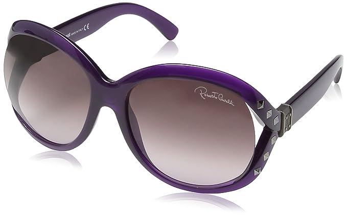 Roberto Cavalli - Gafas de sol Wayfarer RC598S para mujer, Transparent Violet & Ruthium Frame / Dark Violet radient