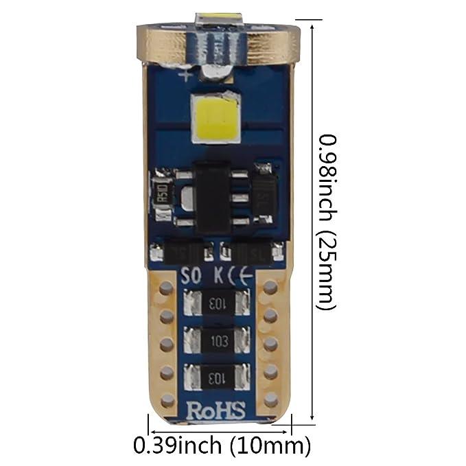 Kashine W5W T10 LED Lampadine 194 168 501 3SMD 3030 per luce interna LED Auto Luce targa larghezza lettura bagaglio cruscotto Bianco 12V 4 pezzi