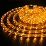 WYZworks 150 feet 1/2'' Thick Orange Pre-Assembled LED Rope Lights with 10', 25', 50', 100' Option - Christmas Holiday Decoration Lighting | UL Certified