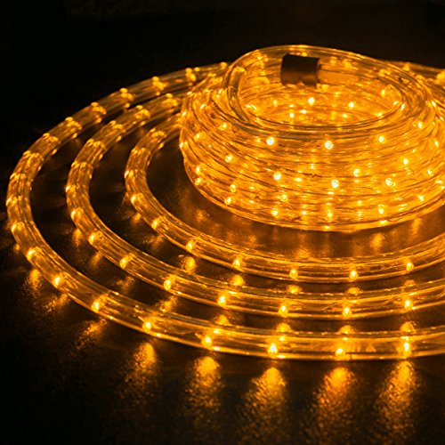Thick AMBER ORANGE Pre-Assembled LED Rope Lights with 10', 25', 100', 150' option - Christmas Holiday Decoration Lighting | UL & CSA Certified ()