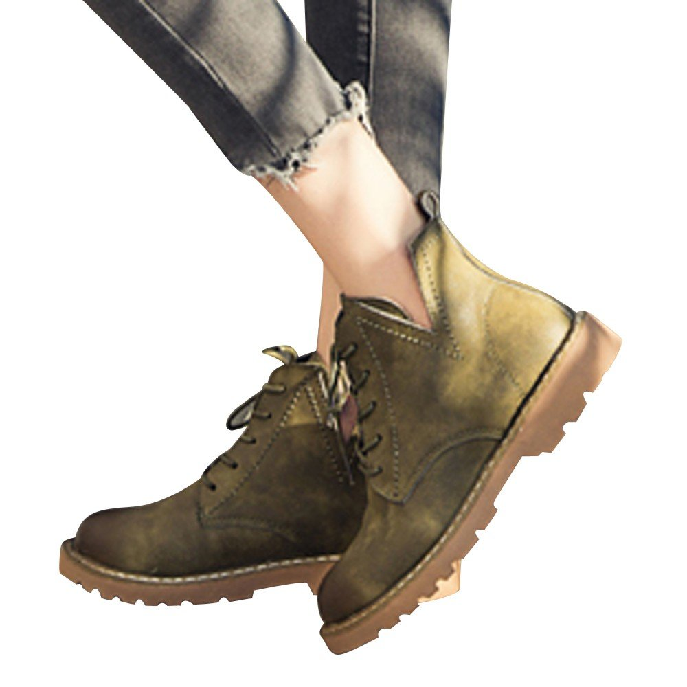 8ed313c0538 Amazon.com  Kinrui Women s Lace up Low Heel Work Combat Boots Fake Leather  Waterproof Ankle Bootie  Sports   Outdoors