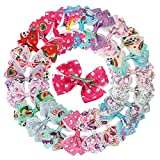 XIMA Unicorn Hair Bows Clips For Baby Girls Children Women 3.5inch Grosgrain Ribbon Bows With Alligator Clips Hair Accessories (22pcs with clip)
