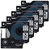 """Anycolor 5 Pack Compatible DYMO D1 Tape Replacement for DYMO 45013 S0720530 Black on White Label Tape for DYMO LabelManager 160 280 420P PnP 220P 360D 450 210D (1/2"""" x 23' 12mm x 7m)"""