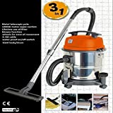 Wet and Dry Vacuum hoover carpet Vac Cleaner Industrial 20ltr 1400w 230v Stainless Steel Power ...
