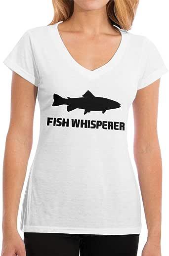 Playeras Fish Whisperer Salmon Womens Fashion Camiseta de Manga Corta con Cuello en Vs: Amazon.es: Ropa y accesorios