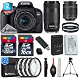 Canon EOS Rebel 800D / T7i Camera + 18-55mm IS STM Lens + Canon EF 70-300mm IS II Nano USM Lens + 2yr Extended Warranty + 32GB Class 10 Memory Card + Macro Filter Kit - International Version