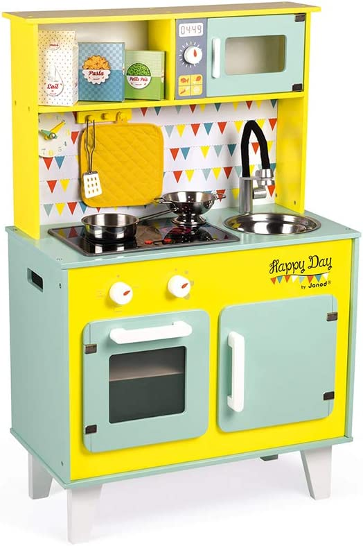 Janod - Big Wooden Play Kitchen - Happy Day - with Fridge and Microwave Oven, Sound and Light - Pretend Play Toy Kitchen - 7 Accessories Included - from 3 Years Old, J06564
