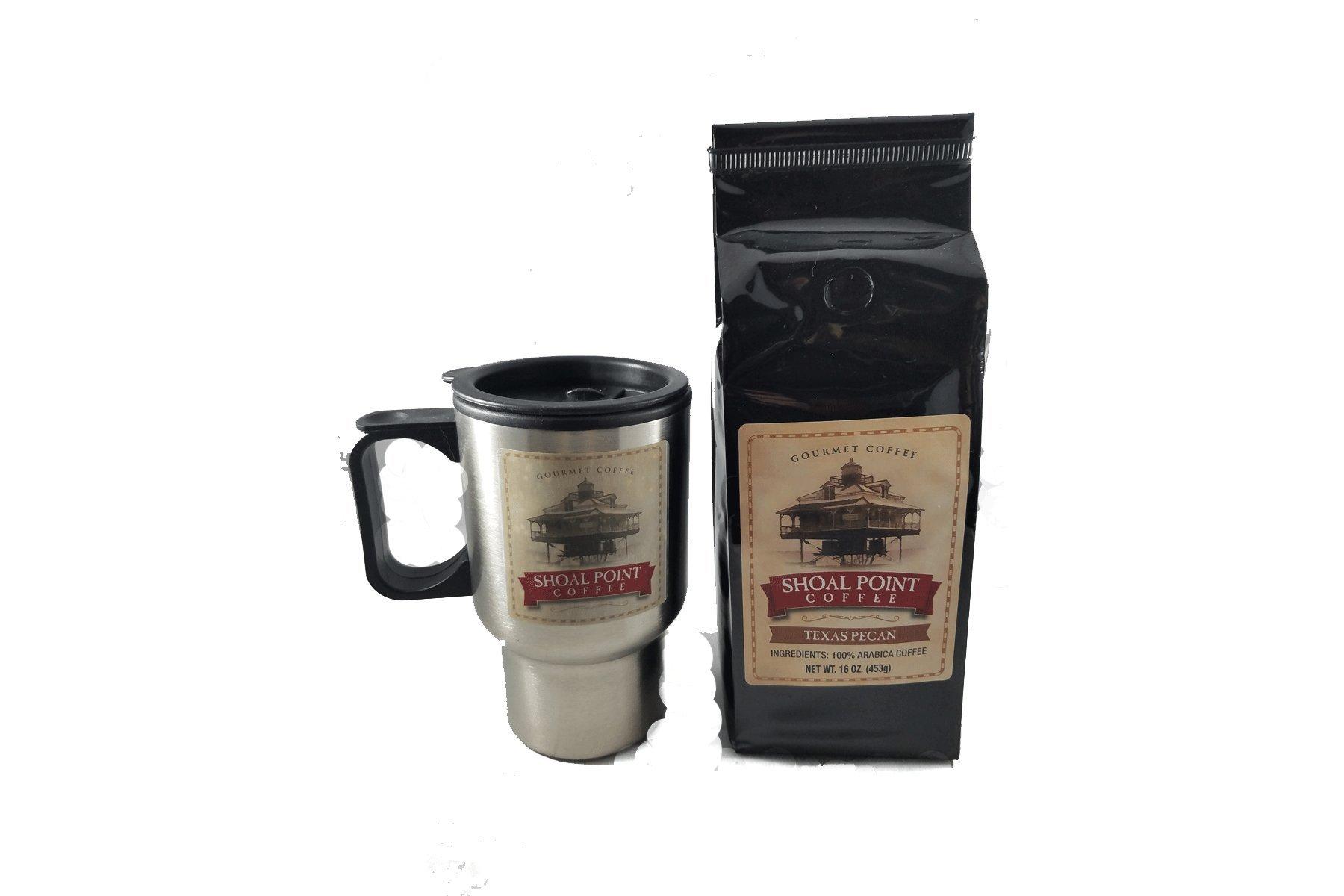 Shoal Point Gourmet Ground Coffee and Travel Mug (Texas Pecan)