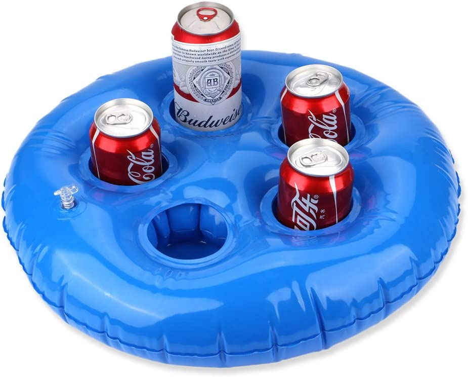 FEEBRIA Inflatable Drink Holders for Pool, Hot Tub, Ocean & River, Cupholder Floaties to Float Your Beverages for Parties & Beach (Blue)