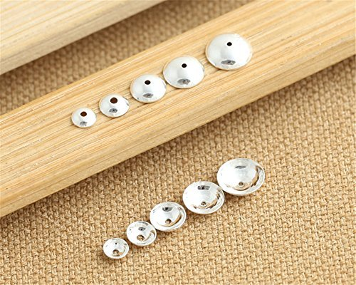 Luoyi Sterling Silver Smooth Bead Caps Jewelry Findings, Hole: 1mm (H007T) (4mm)