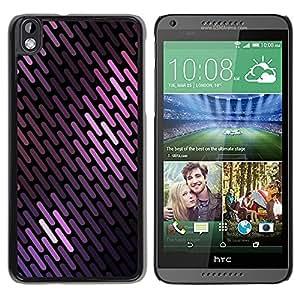 Caucho caso de Shell duro de la cubierta de accesorios de protección BY RAYDREAMMM - HTC DESIRE 816 - Lines Pattern Black Scales