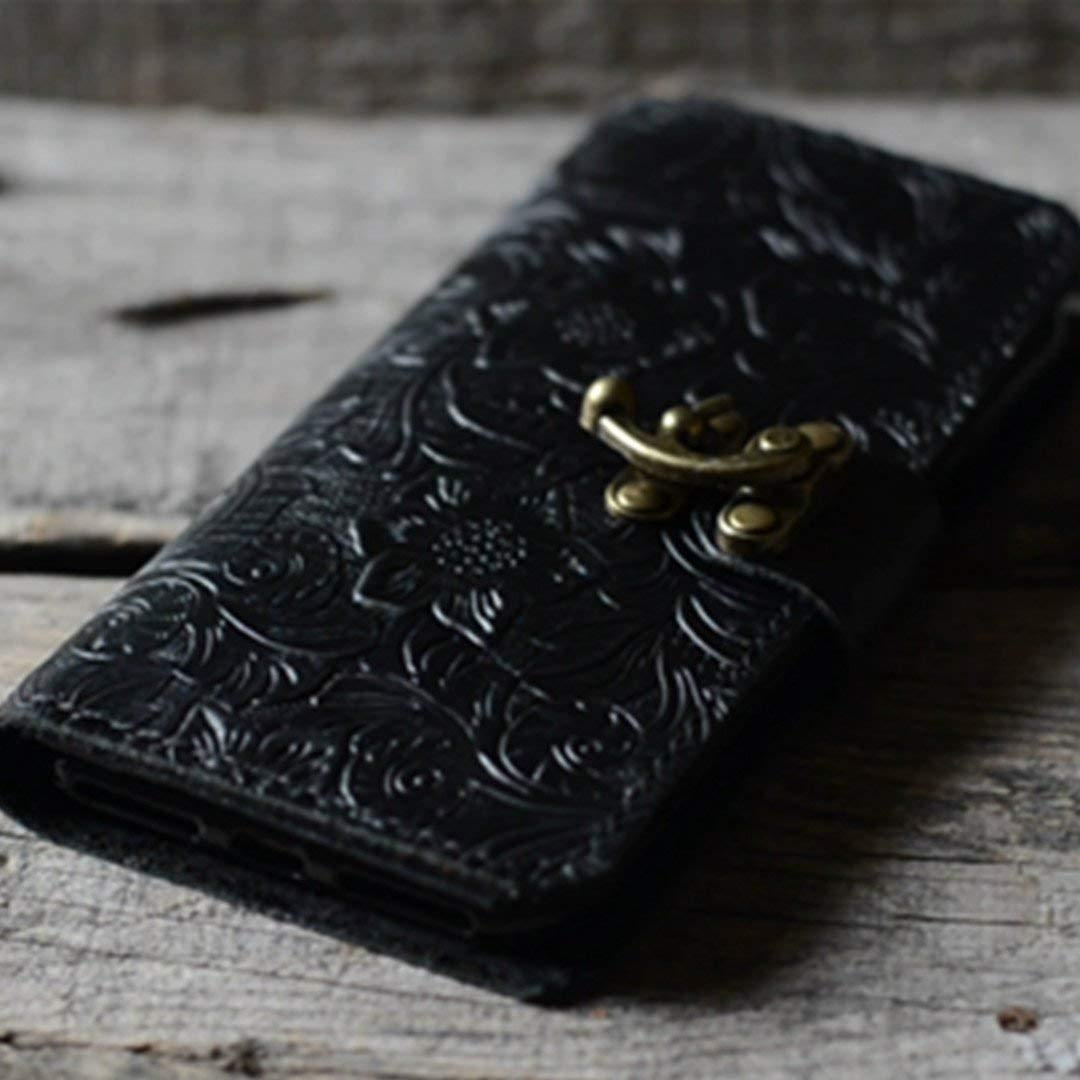 handmade Genuine leather wallet case FOR iphone XS Max/XS / XR/X case leather case for iphone 8/8 PLUS /7/7 plus / 6s / 6 plus choose with wristlet BLACK Pattern