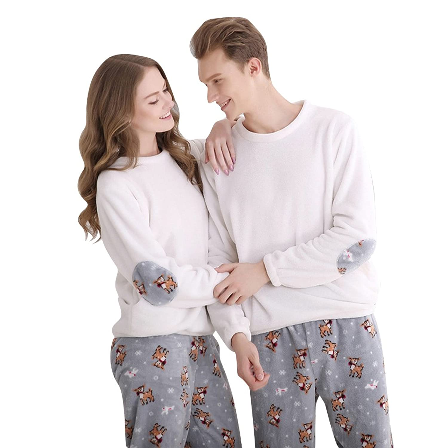 Morver Winter Flannel Thermal Matching Couples Women Men Pajamas Set