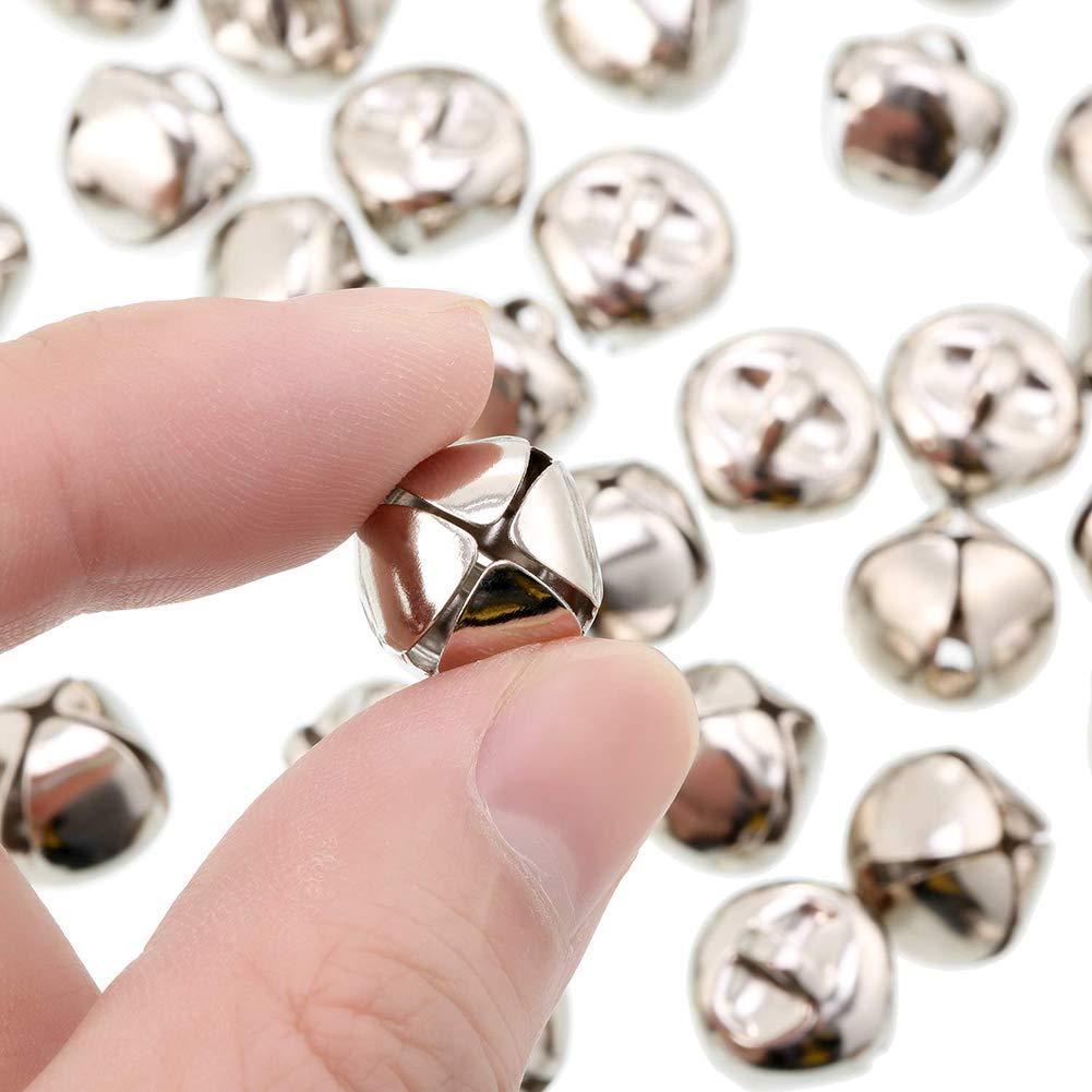 Peque/ñas Cascabeles de Decoraci/ón Campanas Mini Metal Plata 18mm 100 Piezas Peque/ñas Cascabeles para la Fabricaci/ón de Joyas de Decoraci/ón Navide/ña