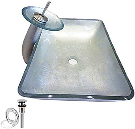de la pop du drain et la bague de montage or rectangulaire /évier r/écipient en verre tremp/é avec robinet cascade