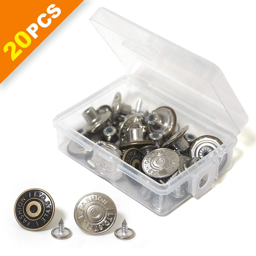 20 Sets Replacement Jean Buttons 17mm Combo Copper Tack Buttons Replacement Kit with Rivets and Metal Base in Plastic Storage Box