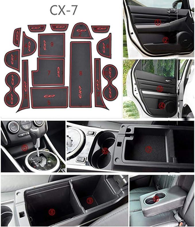16pcsset for Mazda CX-7 CX7 CX 7 Car Accessories Auto 3D Rubber Mat Non-Slip Interior Cup Pad Door Groove Mat car Styling