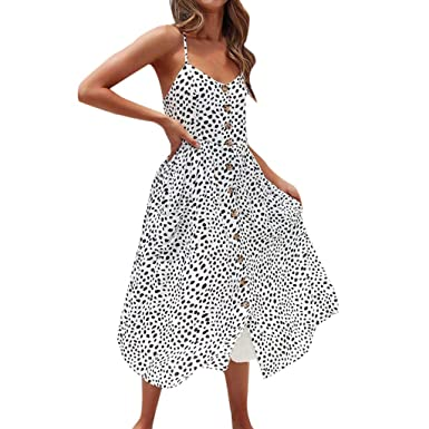 9b7b4d9bf30 Amazon.com  Women Button Down Pocket Strappy Single Breast Sexy Dot Print V  Neck Flare Dress  Clothing