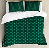 Fleur De Lis Duvet Cover Set King Size by Ambesonne, Diagonal Checkered Pattern with Heraldic Symbols Retro Royal French, Decorative 3 Piece Bedding Set with 2 Pillow Shams, Sea Green Jade Green