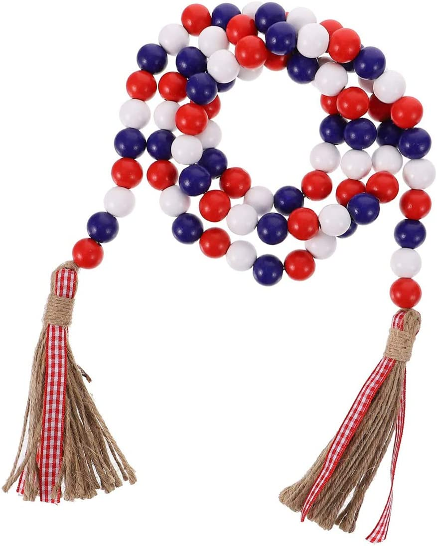 Wood Bead Garland with Rustic Tassels, Farmhouse Wall Hanging Prayer Beads Patriotic American Independence Day 4th of July Ornaments for Home Decor