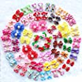 Yagopet 50pcs Pack Cute New Dog Hair Bows Pairs Rhinestone Pearls Flowers Topknot Mix Styles Dog Bows Pet Grooming Products Mix Colors Pet Hair Bows Topknot Rubber Bands