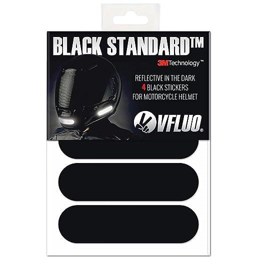 VFLUO BLACK STANDARD™, Kit 4 bandes stickers rétro réfléchissants pour casque moto, 3M Technology™, Noir