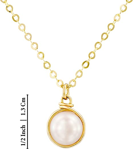 Hand Wrapped 10mm Cultured Pearl Pendant 14k Gold-Filled Necklace Bridal Wedding Jewelry 18 4 Extender