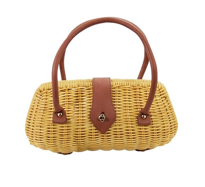 1950s Handbags, Purses, and Evening Bag Styles Banned Vintage Style Wicker basket Erin Handbag $49.00 AT vintagedancer.com