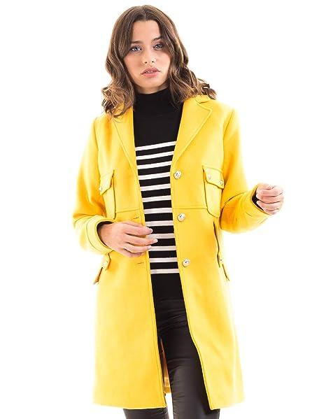 Morgan de Toi Abrigo paño Botones Amarillo (Amarillo - 36)